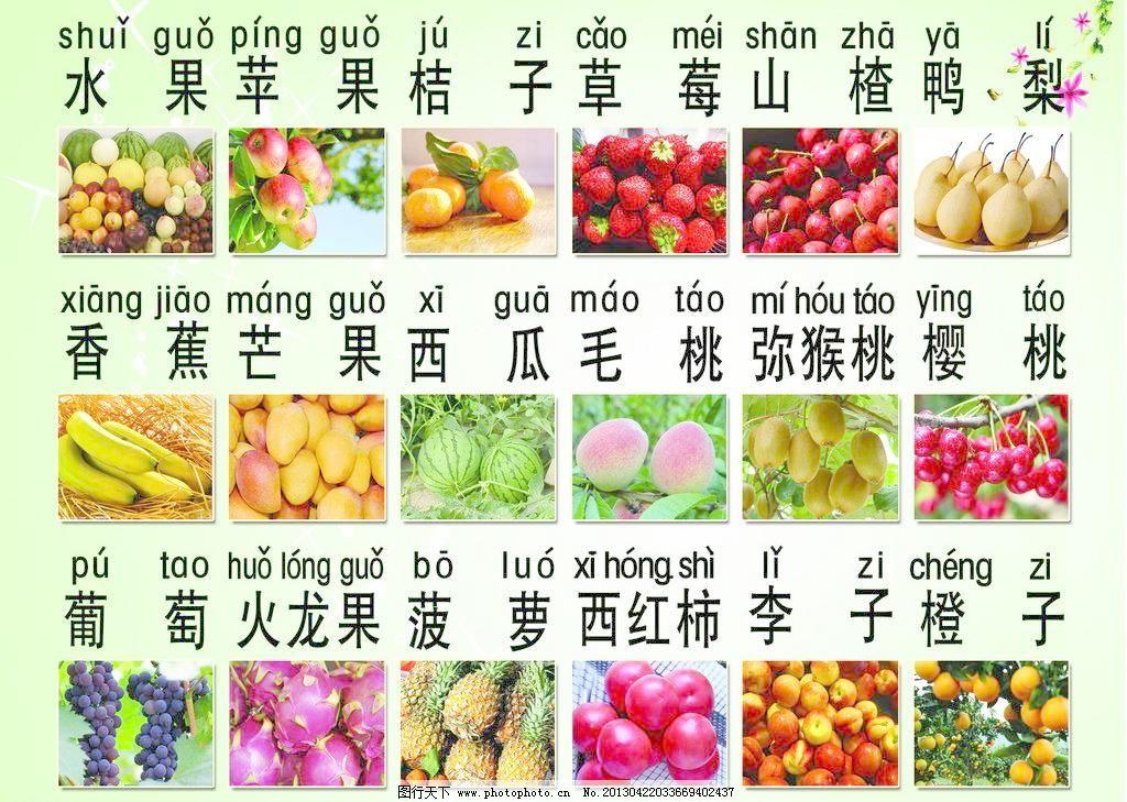 水果拼音模板下载 水果拼音 水果 各种水果 看图识字 拼音识字 拼音