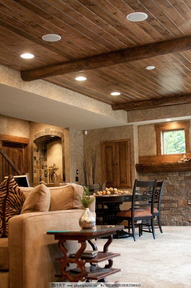 美式餐厅 北欧风格 装修 大厅 真皮沙发 客厅 吊顶 书架 木地板图片