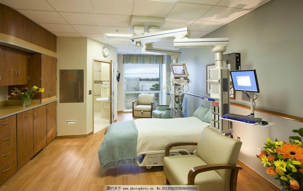 高档病房 医院 北欧风格 美式 装修 大厅 客厅 吊顶 书架 木地板图片