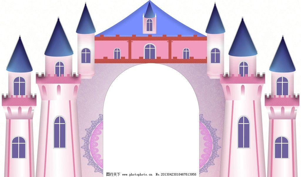 城堡 动漫 粉色 花纹 窗户 风景漫画 动漫动画 设计 72dpi jpg