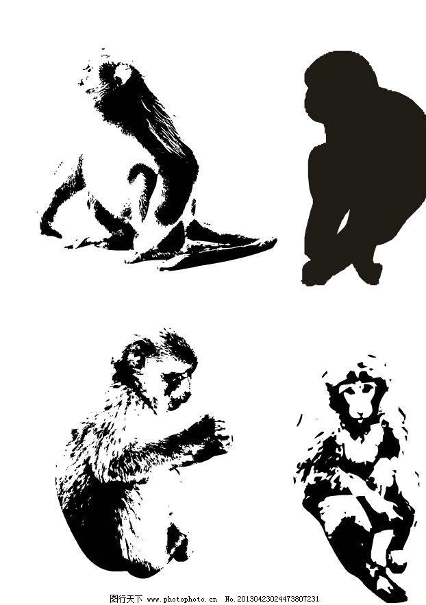 动物黑白画作品简单