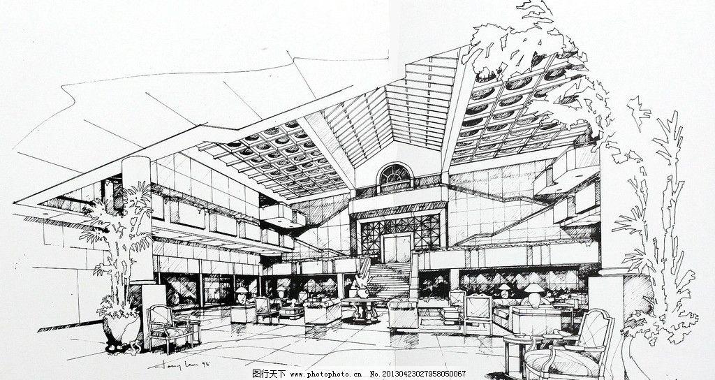 室内设计手绘效果图 室内设计 酒店大堂 植物 手绘        环境设计