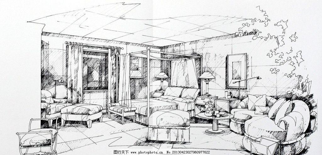 室内设计手绘效果图 室内设计 别墅 主卧 手绘        沙发 环境设计