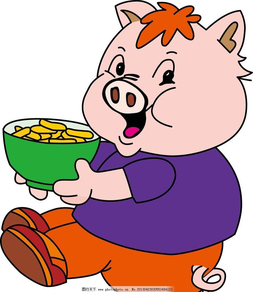 卡通猪 线条猪 矢量猪