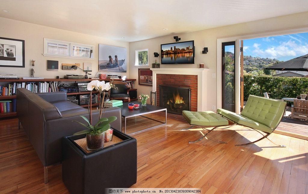 别墅效果图实景图 北欧风格 美式 装修 大厅 真皮沙发 绿植 靠垫