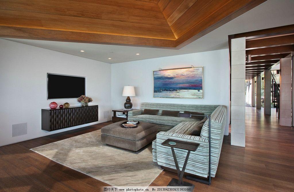 别墅室内 北欧风格 美式 装修 大厅 真皮沙发 绿植 靠垫 吊顶