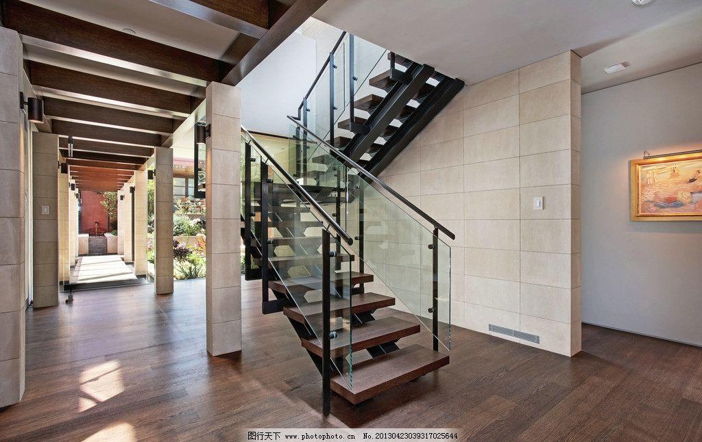 别墅楼梯 欧式 别墅 楼梯 木地板 庭院 户外 简约 现代 联排别墅 独栋