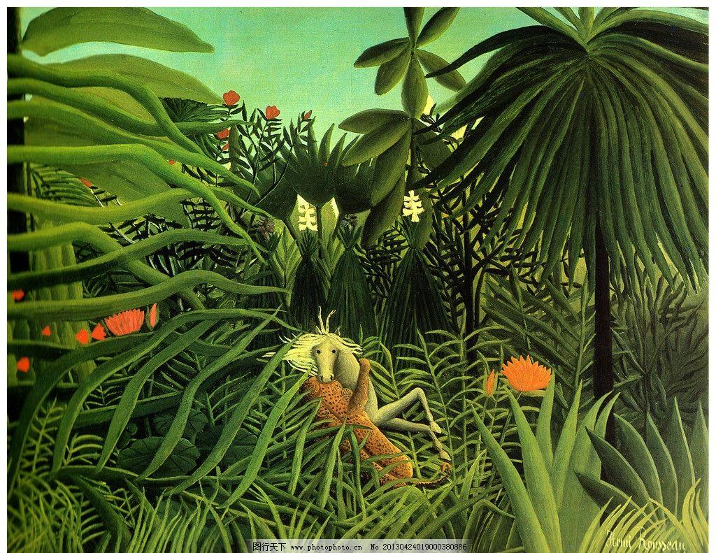 森林风景 绿色植物 植物公园 动物油画 郊外风景油画 风景明信片