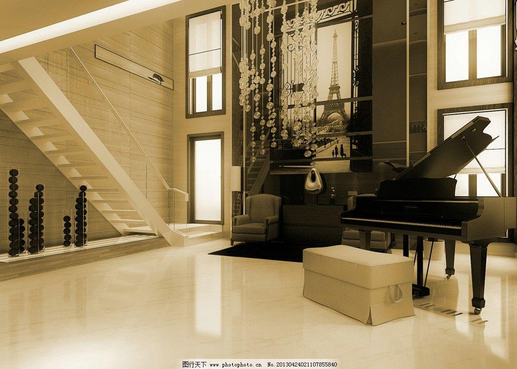 复式客厅 钢琴 楼梯 玻璃扶手 地毯 地板 挂画 壁纸 工艺品 吊灯 家装