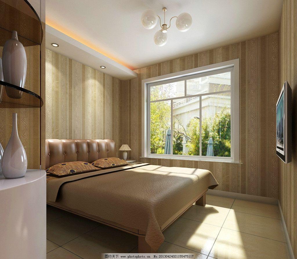 卧室 室内 家装 效果图 床 窗户