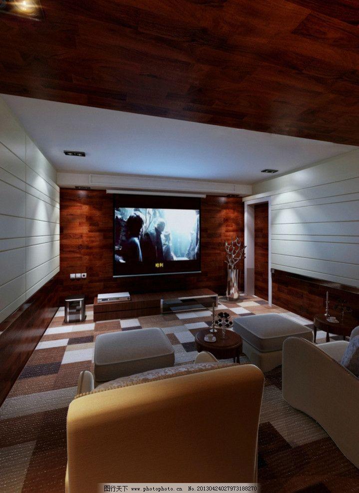 影视厅 木地板墙面 软包墙面 地毯 地板 桌椅 家装设计 室内设计 环境