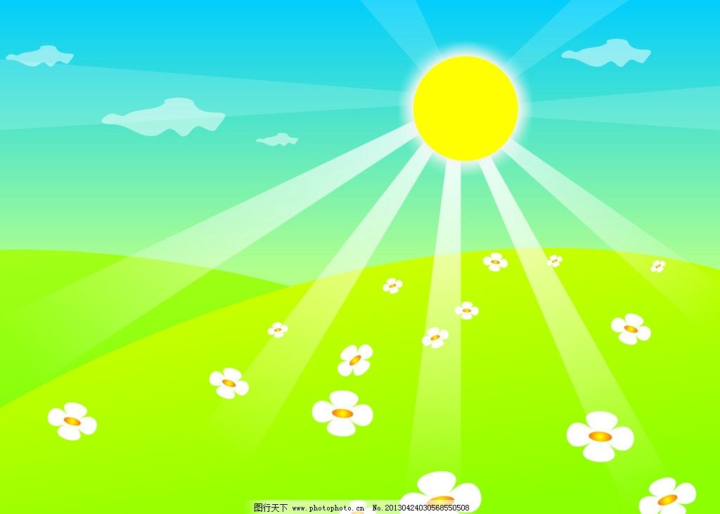蓝天白云绿草地 蓝天 白云 绿草地 四叶花 太阳 阳光 卡通 矢量 cdr