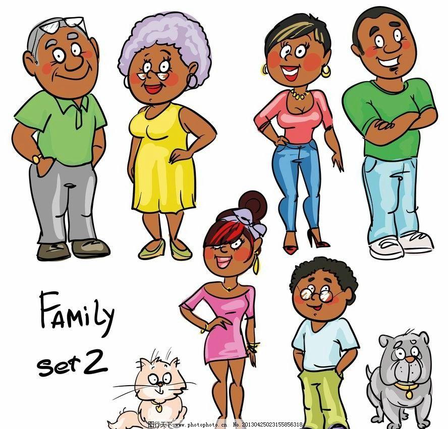 卡通家庭人物图片,漫画 一家人 手绘 可爱 矢量 卡通