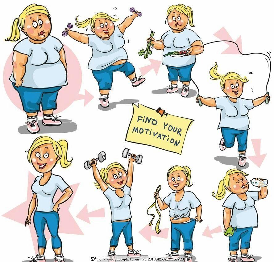 漫画减肥女人 卡通 表情 手绘 矢量 妇女女性 矢量人物图片