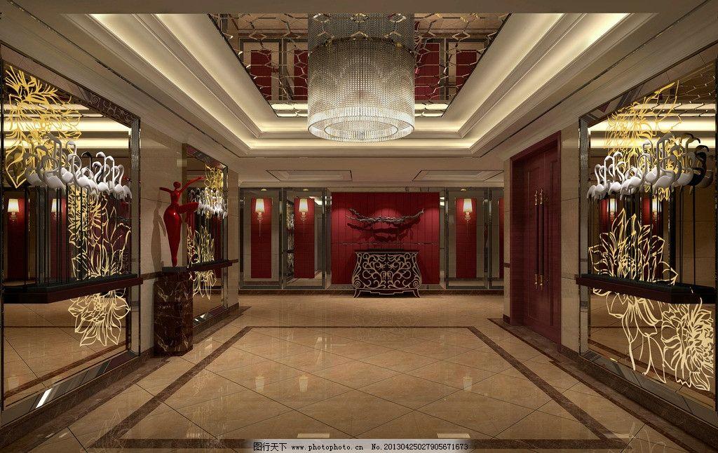 酒店电梯大堂效果图 酒店 大堂        欧式 吊灯 镜子 室内设计 环境