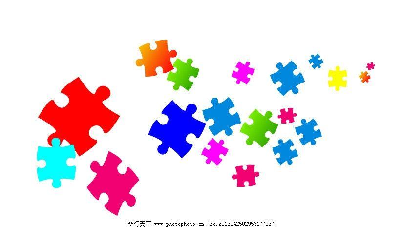 拼图 红 蓝 矢量 背景素材 拼板 拼贴 娱乐 矢量素材 广告设计 ai