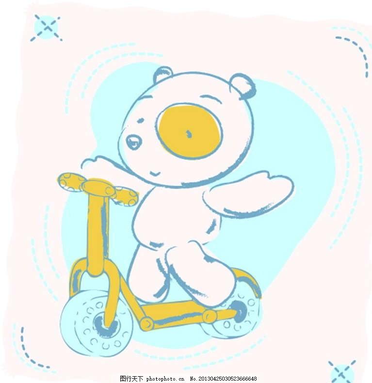 小熊 白熊 小船 帆船 插画 背景画 动漫 卡通 时尚背景 背景元素 图画
