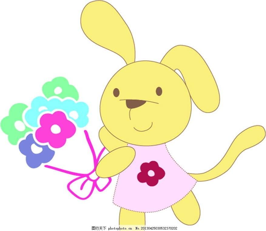 小兔子 小白兔 小动物 插画 背景画 动漫 卡通 时尚背景 背景元素