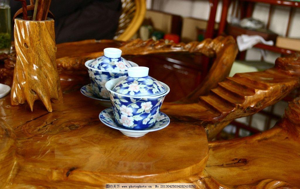 茶具 青花瓷 木雕 桌子