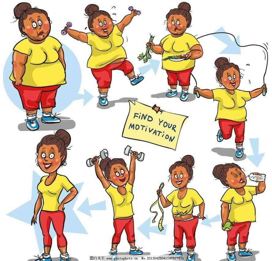 漫画减肥女人 卡通 漫画 减肥 表情 手绘 矢量 妇女女性 矢量人物 eps图片