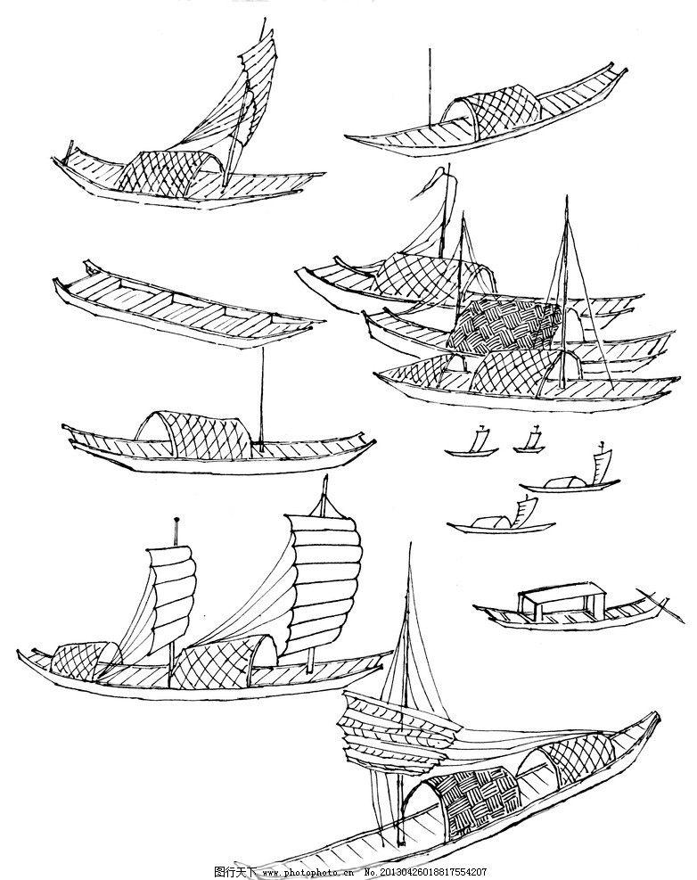 古代帆船 钢笔白描 速写 手绘 钢笔手绘 动物白描 帆船 线描 白描图谱