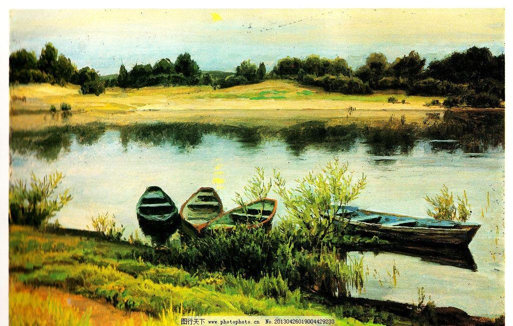 油画 湖面风光 春天油画 小船 春天风景油画 油画风景 小河 树林 河流