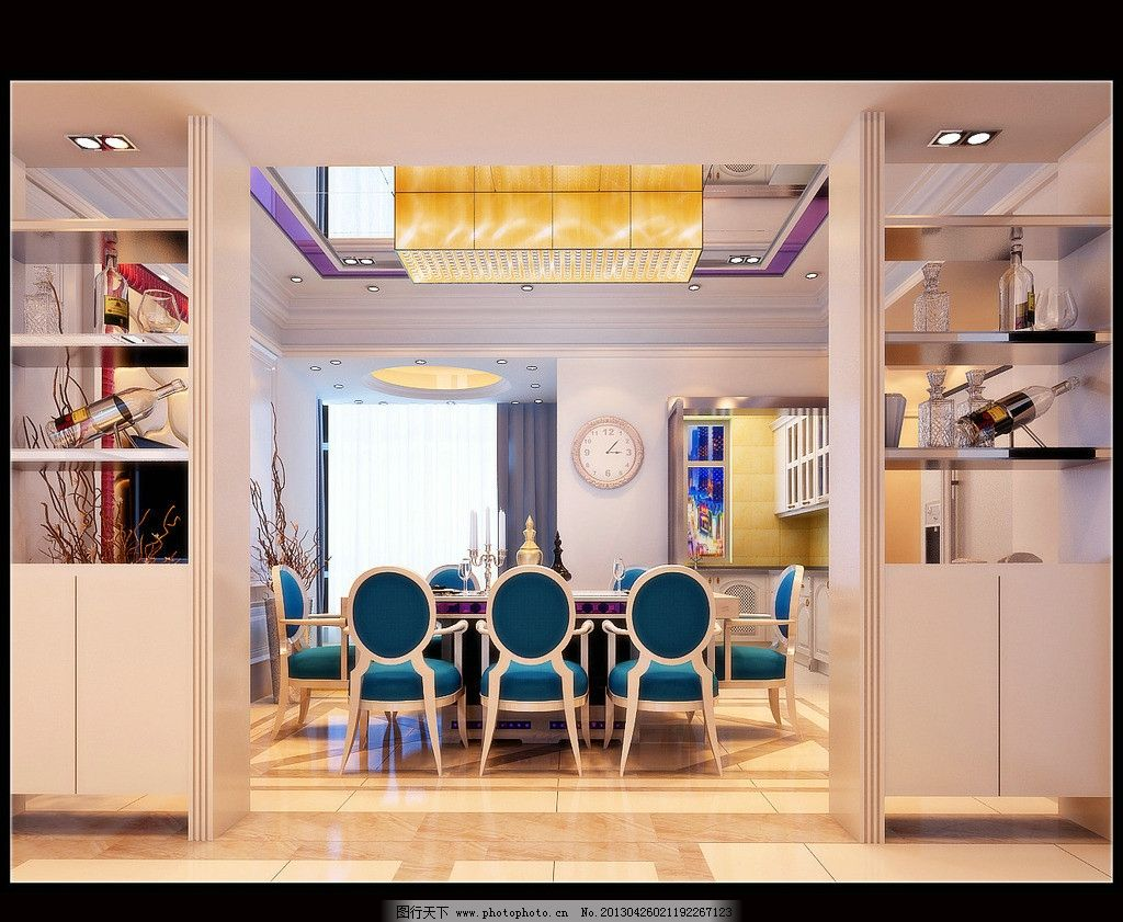 欧式客厅效果图 桌椅 酒水柜 吊灯 窗户图片