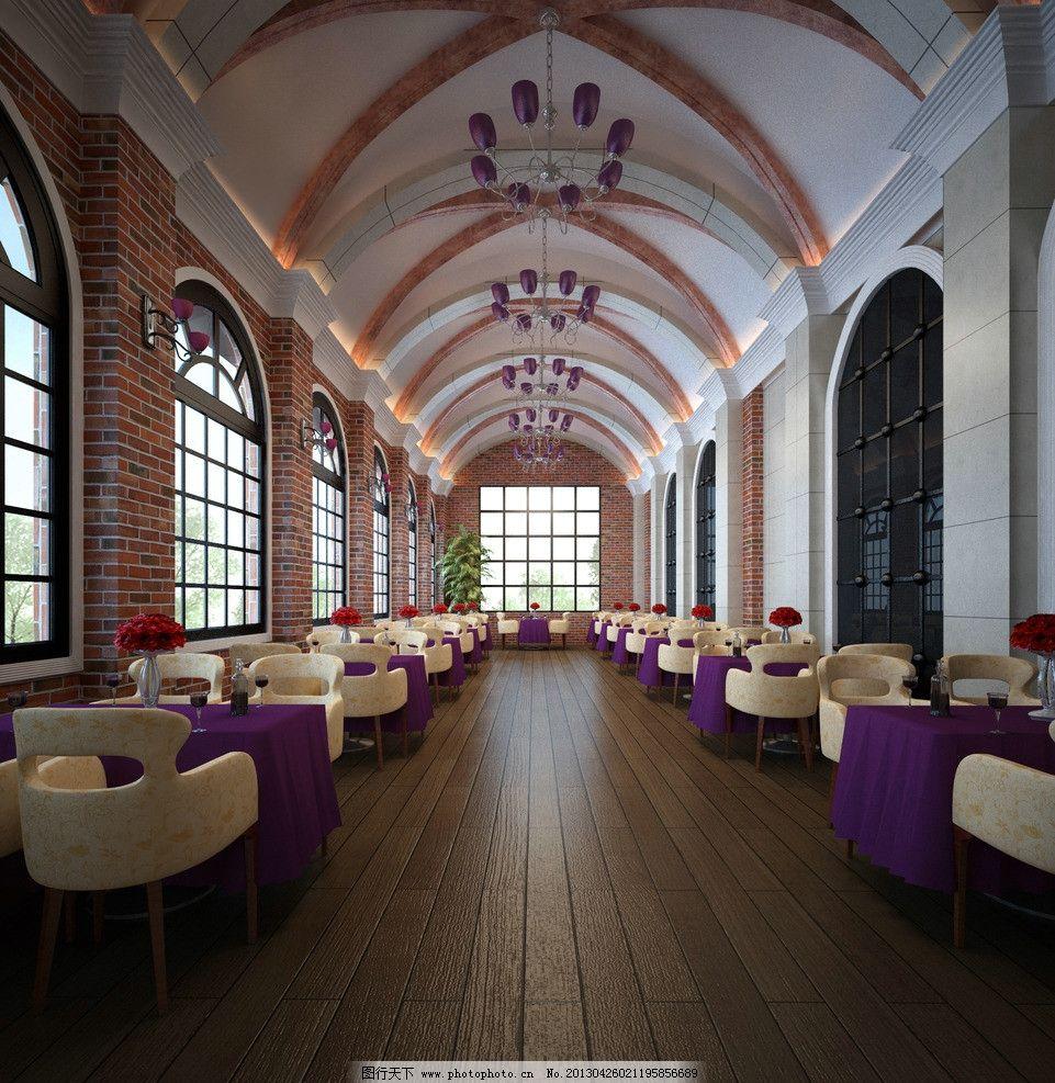 欧式餐厅 欧式 餐厅 简约 砖面 拱形 室内模型 3d设计模型 源文件 max