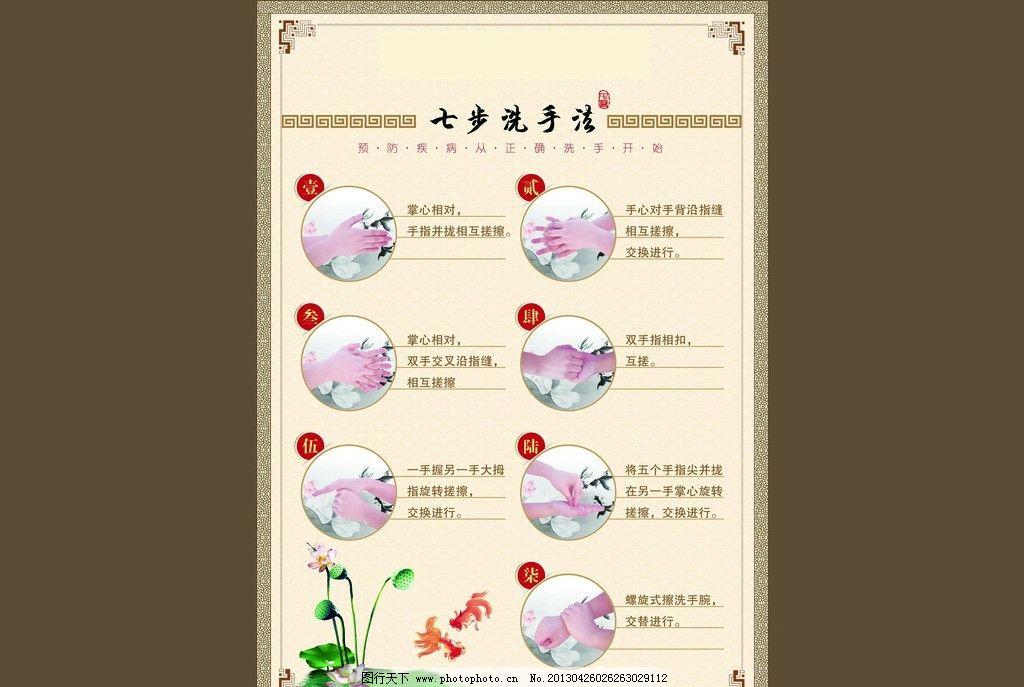 七步洗手法 六步洗手法 洗手法 洗手 手 医疗保健 生活百科 矢量 ai