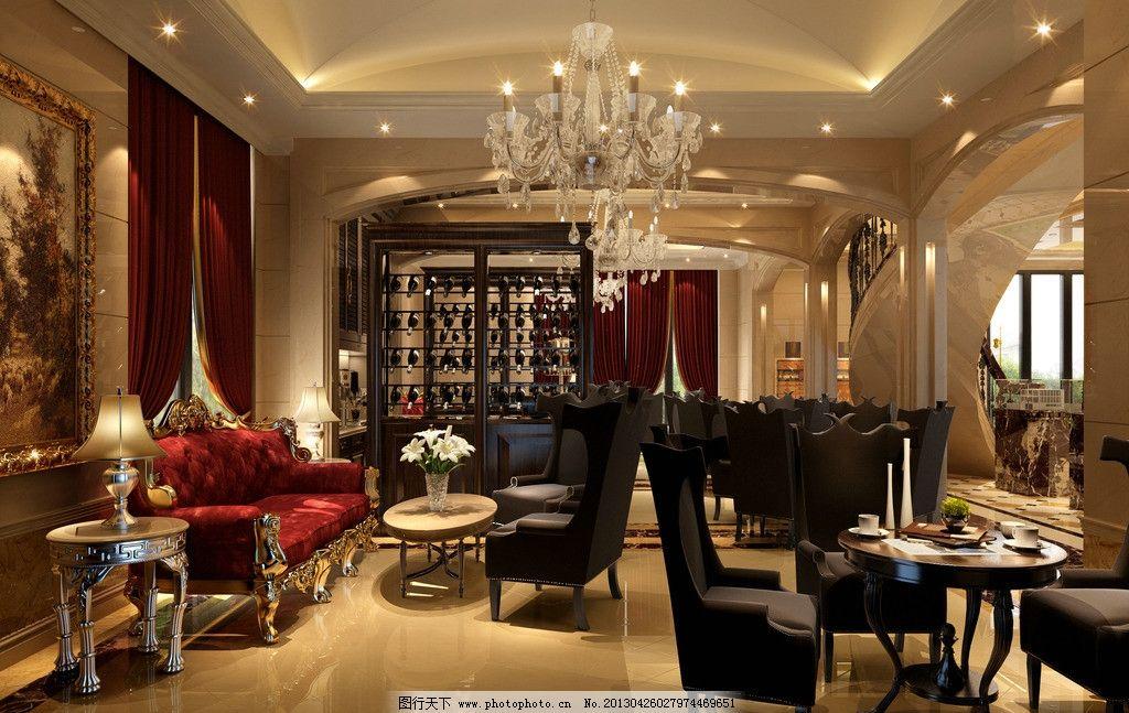 室内设计图片,工装 效果图 大堂 沙发 吊灯 欧式-图行