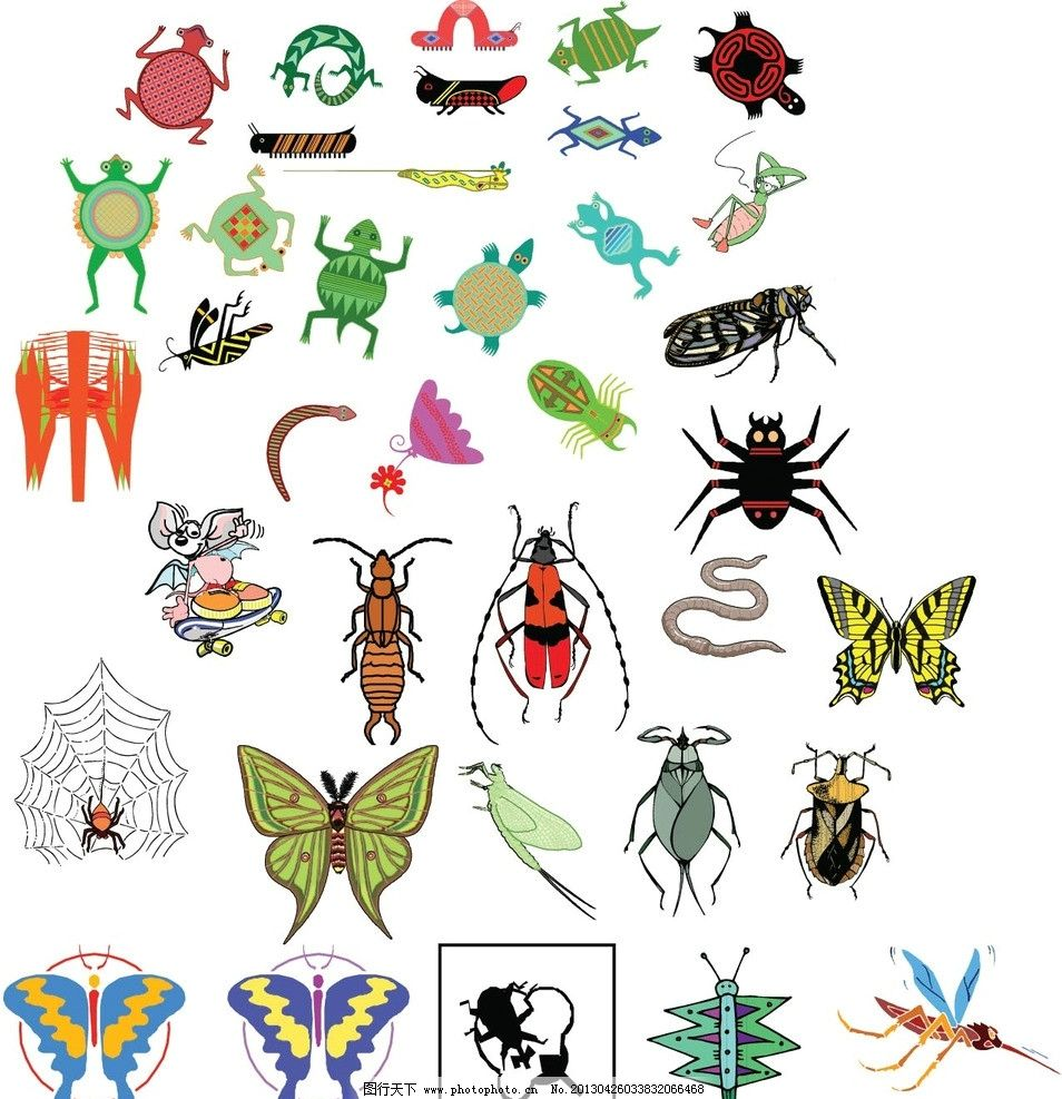 各种昆虫 昆虫 动物 矢量图 羊 可爱虫子 生物世界 矢量 ai 矢量素材