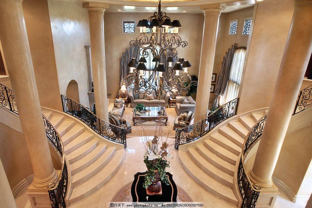 悬空 欧式楼梯 大理石楼梯 真皮沙发 绿植 靠垫 吊顶 书架 木地板