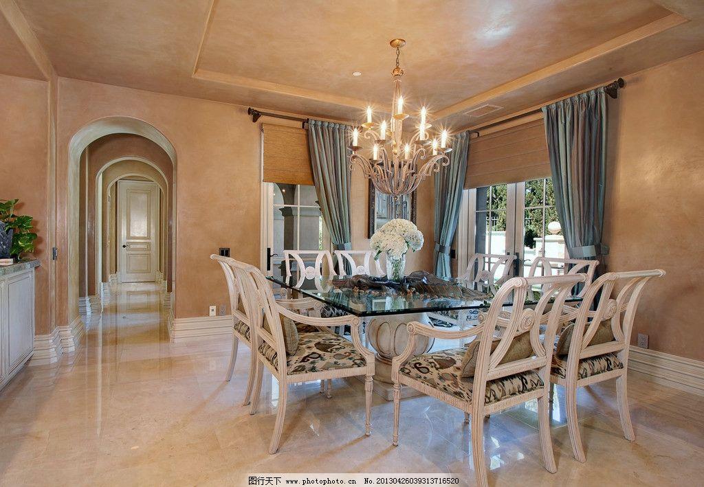 欧式 别墅 楼梯 餐厅 餐桌 整体橱柜 红木家具 木地板 水晶灯 庭院