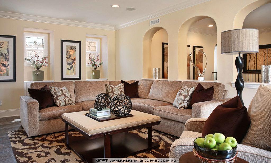 别墅大厅图 北欧风格 美式 装修 真皮沙发 客厅 吊顶 书架 木地板