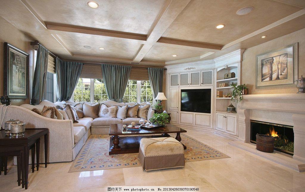别墅大厅 北欧风格 美式 装修 真皮沙发 客厅 吊顶 书架 木地板