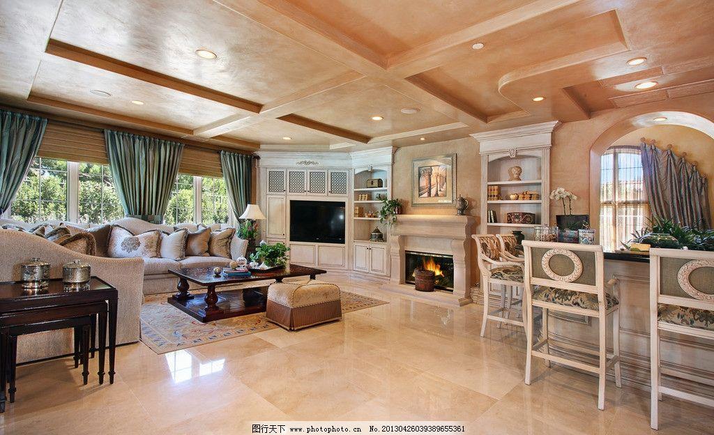 落地窗 电视 电视背景墙 窗帘 餐桌 整体橱柜 红木家具 木地板 庭院