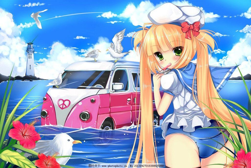 人物动漫 动漫 动漫人物 动漫美女 水手服 蝴蝶结 鲜花 海鸥 灯塔
