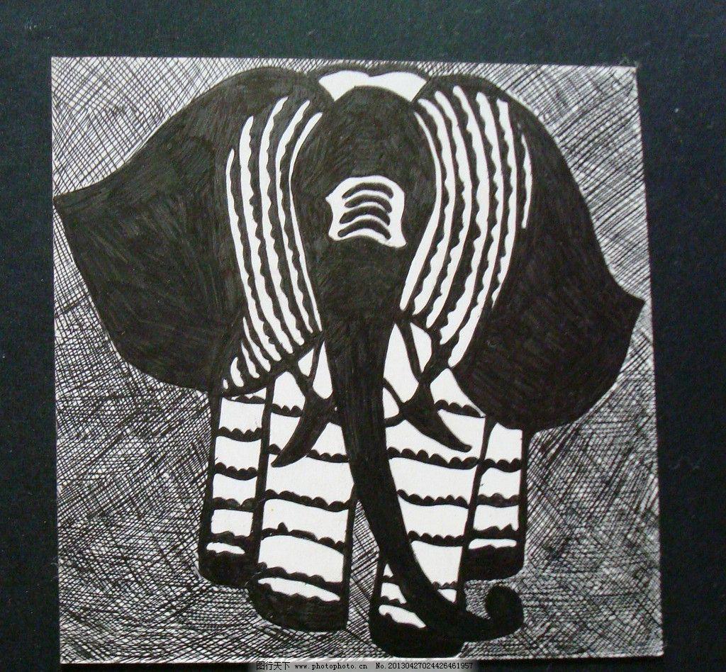 线描植物 作业 线描 动物 黑白 装饰 装饰基础 大象 野生动物 生物