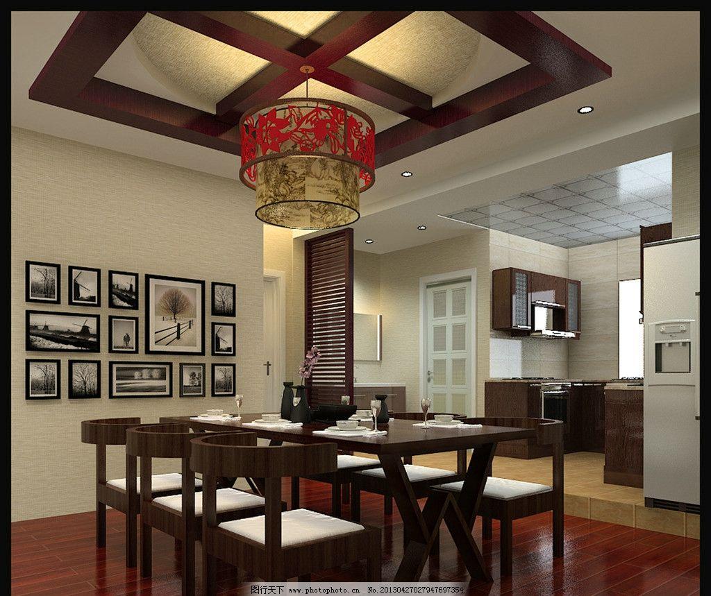 餐厅效果图 渲染 餐厅 效果 中式 餐桌 室内设计 环境设计 设计 300