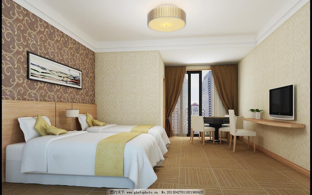 简约 墙纸 咖啡色 深色 灰色 花纹 木饰面板 窗帘 灯 白色 床 地毯砖