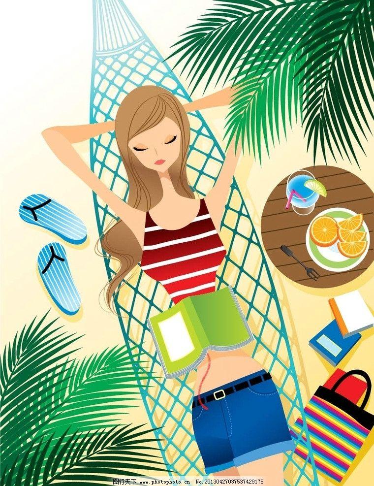 海边度假 夏日风景 沐浴阳光 美女 沙滩躺椅 蓝天 晒太阳 海边 海岸