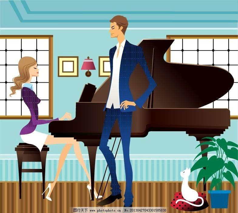 弹钢琴 钢琴 钢琴表演 卡通情侣 爱侣 浪漫情侣 情人 情人节 手绘插画
