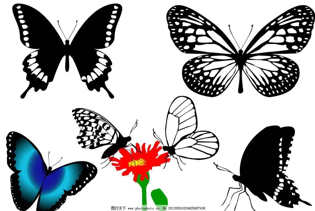 蝴蝶 蝴蝶剪影 动物 动物剪影 昆虫剪影 花朵 红花 蝶恋花 飞行