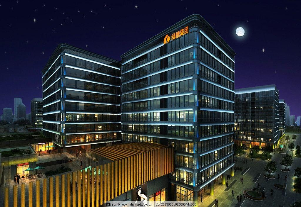 办公楼夜景灯光设计图片,效果图 月亮 天空-图行天下