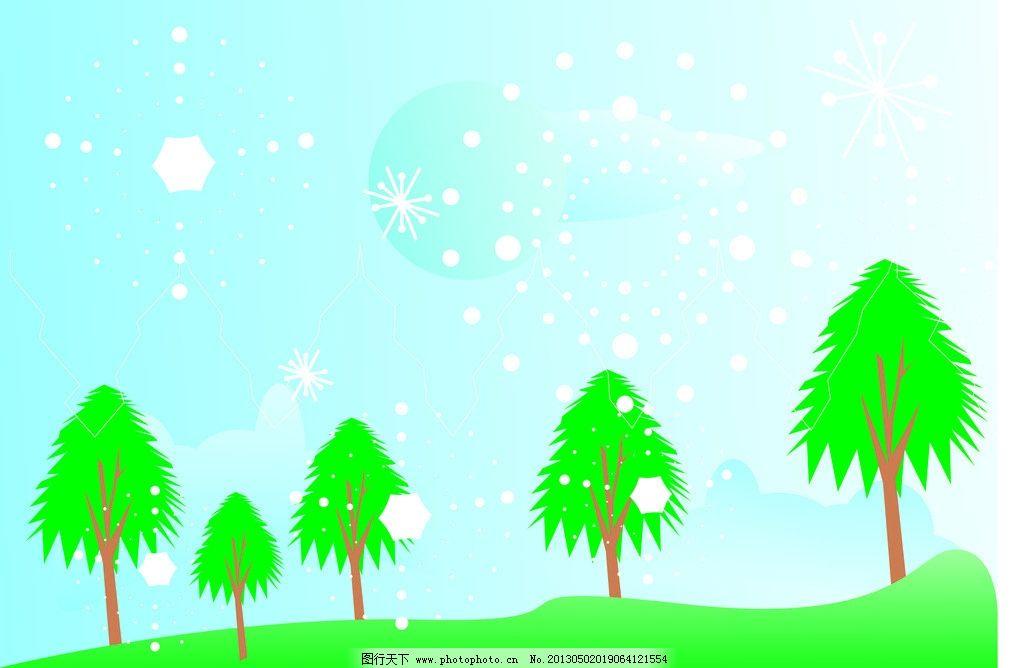 浪漫童话 树 绿色 草坪 蓝天白云 月亮 白色的圣诞雪花 线蓝色的背景