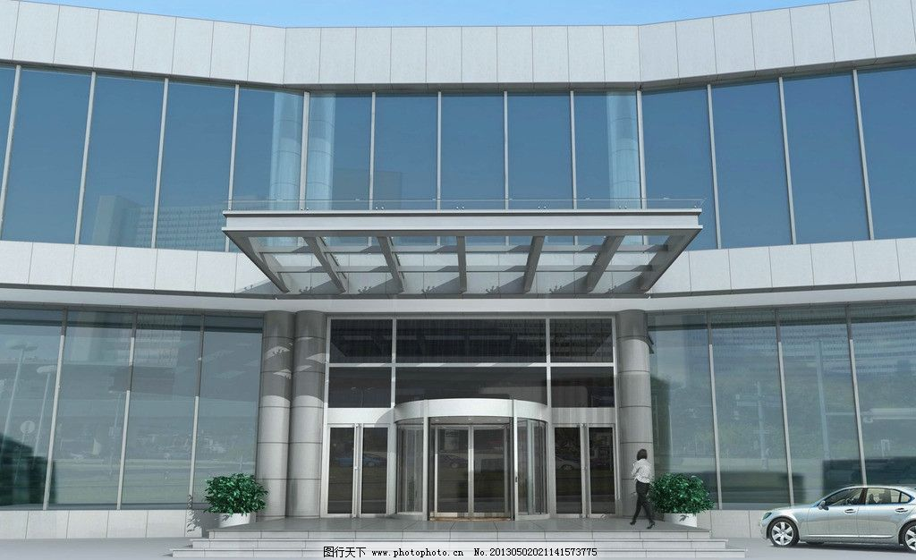 建筑出入口自动门效果 自动门 旋转门 铜门 门 门区建筑入口 3d设计