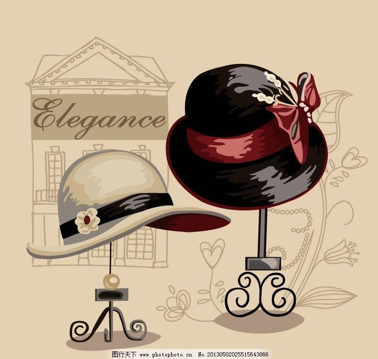手绘帽子图案 手绘 帽子 图案 烫印 矢量 素材 英文 花 线条 建筑