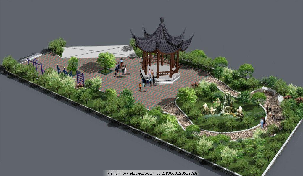 创意园林景观图 创意园林景观 园林设计 花园设计 亭子 绿化带 其他