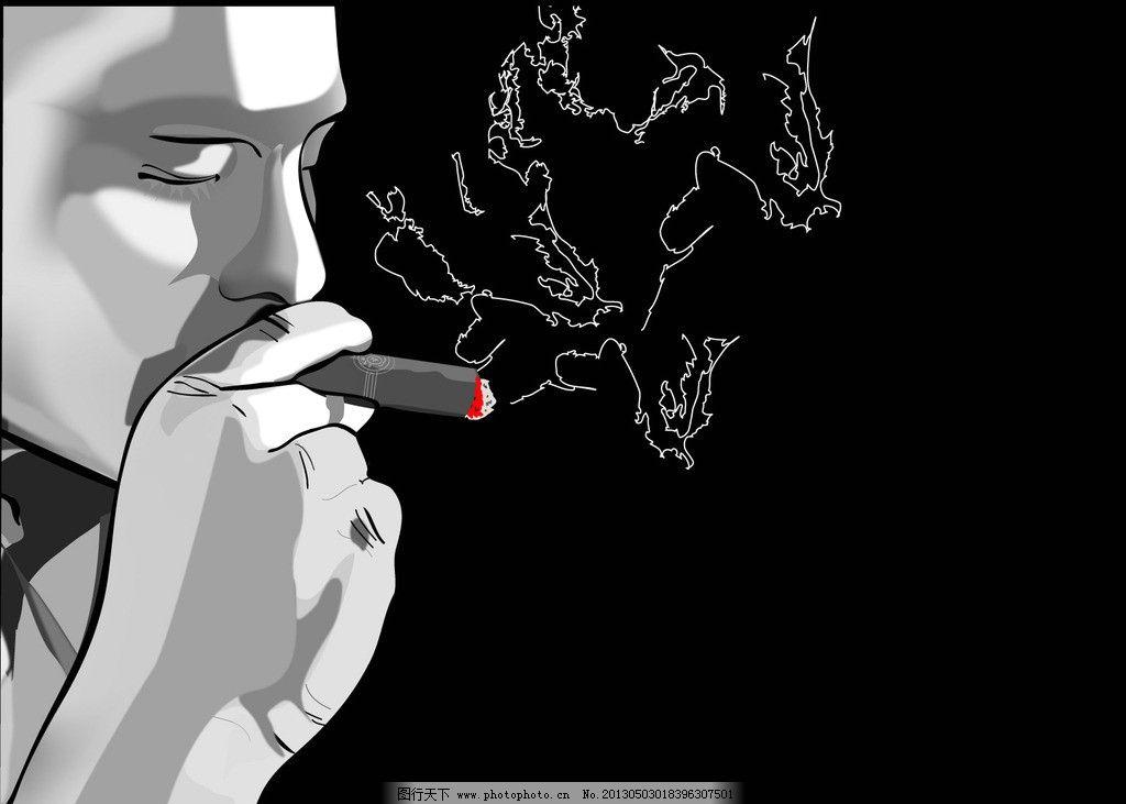 抽烟 黑白 人物 动漫 手绘 动漫动画