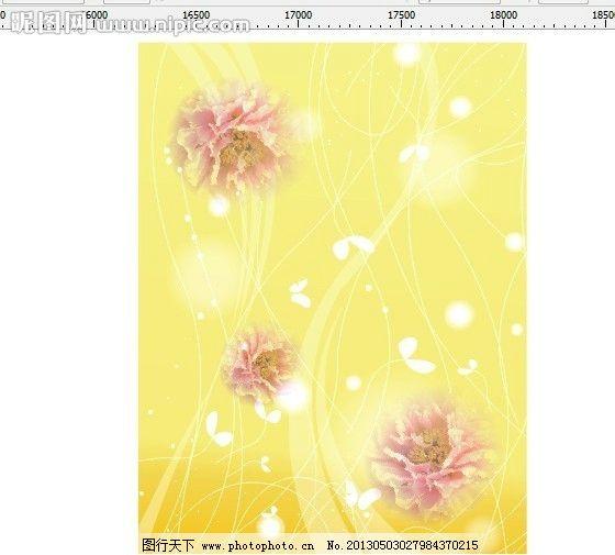 移门图案 花 牡丹花 牡丹 黄色底 线条 花纹 素材 插画 设计背景 插画